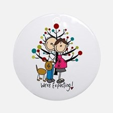 Christmas Expectant Couple With Dog Round Ornament