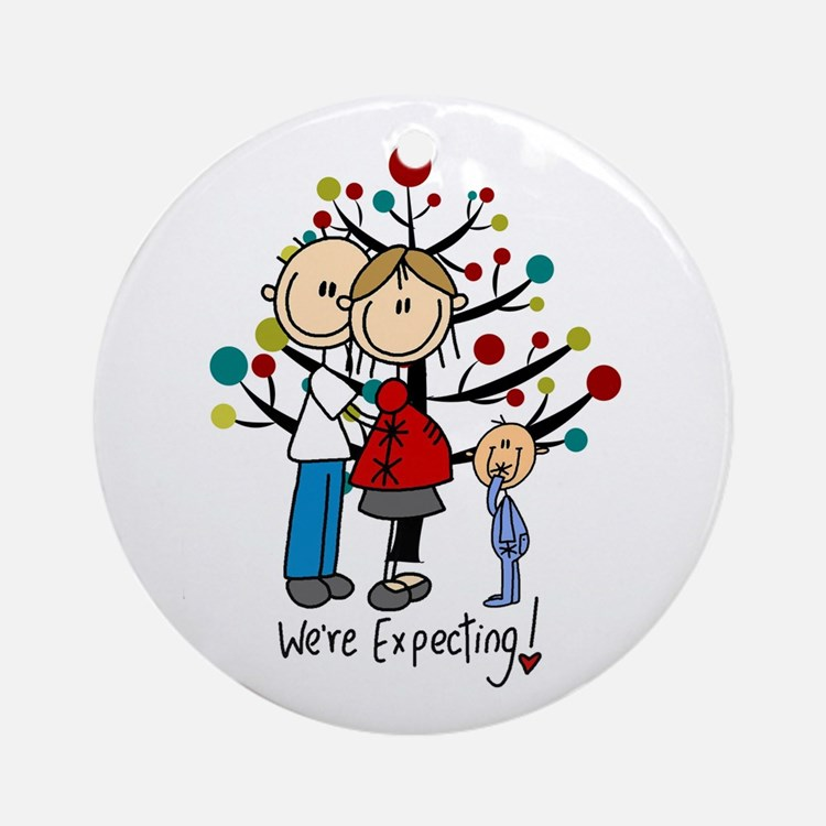 Stick Figure Expectant Couple W. Round Ornament