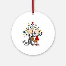 Christmas Stick Figure Couple Cat Round Ornament