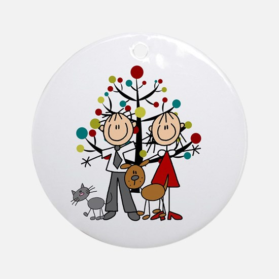 Christmas Stick Figure Couple Cat Round Ornament