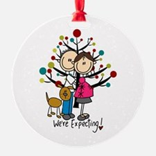 Christmas Expectant Couple With Dog Ornament