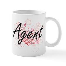 Agent Artistic Job Design with Flowers Mugs