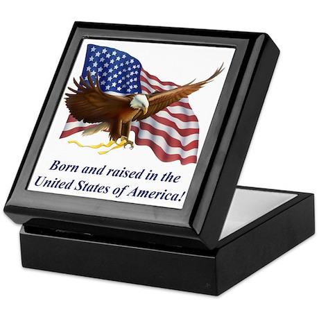 Born Raised In USA! Eagle Keepsake Box