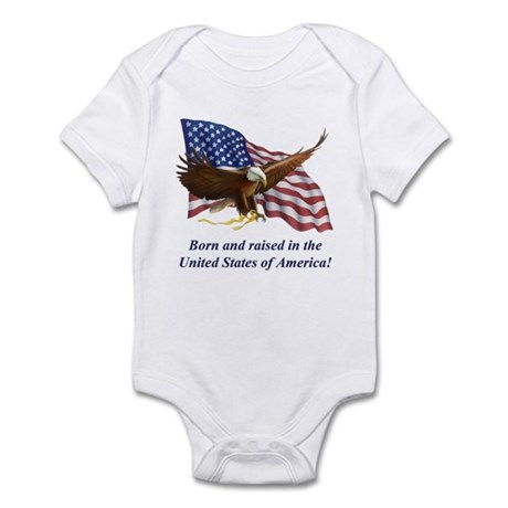 Born Raised In USA! Eagle Infant Bodysuit