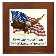 Born Raised In USA! Eagle Framed Tile
