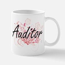 Auditor Artistic Job Design with Flowers Mugs