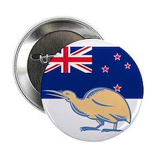 """Kiwi Bird NZ Flag Woodcut 2.25"""" Button (10 pack)"""