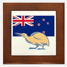 Kiwi Bird NZ Flag Woodcut Framed Tile