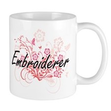 Embroiderer Artistic Job Design with Flowers Mugs