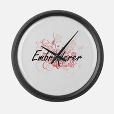 Embroiderer Artistic Job Design w Large Wall Clock