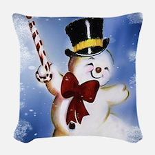 Cute dancing Snowman Woven Throw Pillow