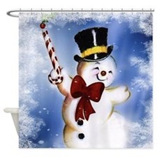 Cute dancing Snowman Shower Curtain