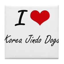 I love Korea Jindo Dogs Tile Coaster