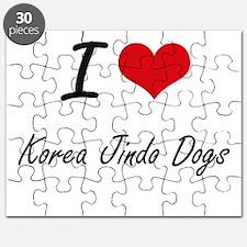 I love Korea Jindo Dogs Puzzle
