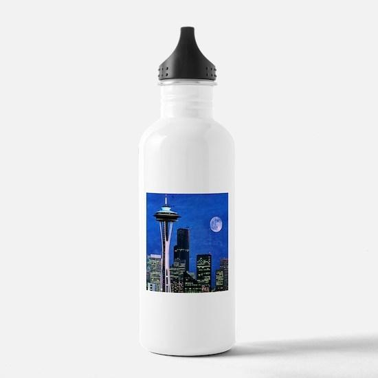 Blue Seattle Water Bottle