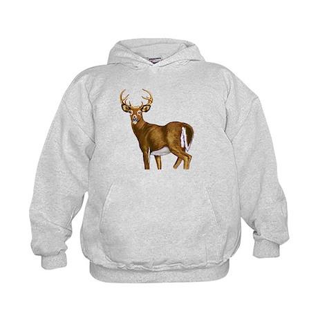 American White Tail Deer Buck Kids Hoodie