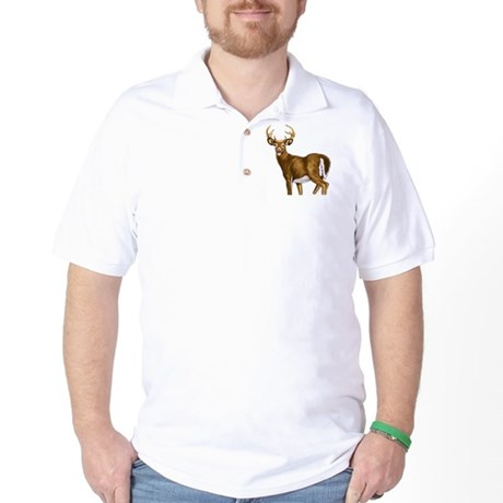 American White Tail Deer Buck Golf Shirt