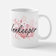 Innkeeper Artistic Job Design with Flowers Mugs