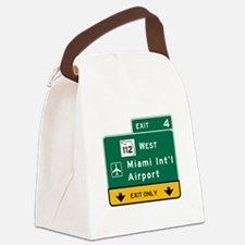 Miami Intl Airport, FL Road Sign, Canvas Lunch Bag
