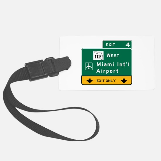 Miami Intl Airport, FL Road Sign Luggage Tag