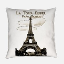 Eiffel Tower-Paris-France-1-Sepia Everyday Pillow