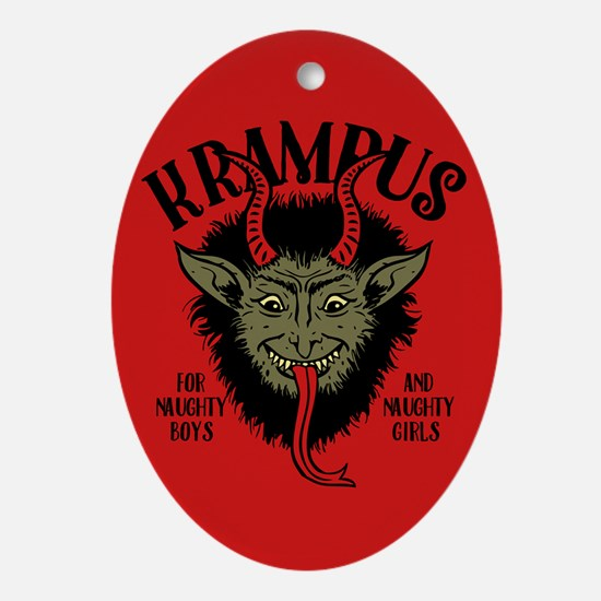 Krampus Face Naughty Oval Ornament