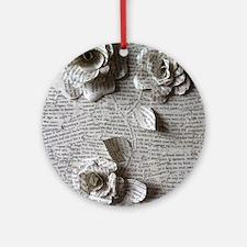 Paper Rose 3D Artwork Print Round Ornament