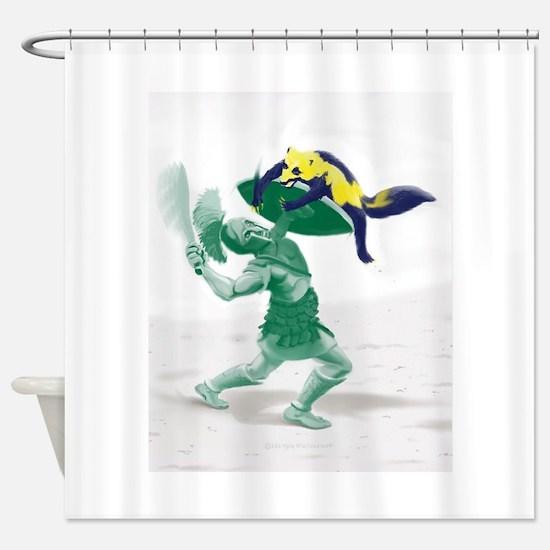 Hoplite vs. Wolverine Shower Curtain