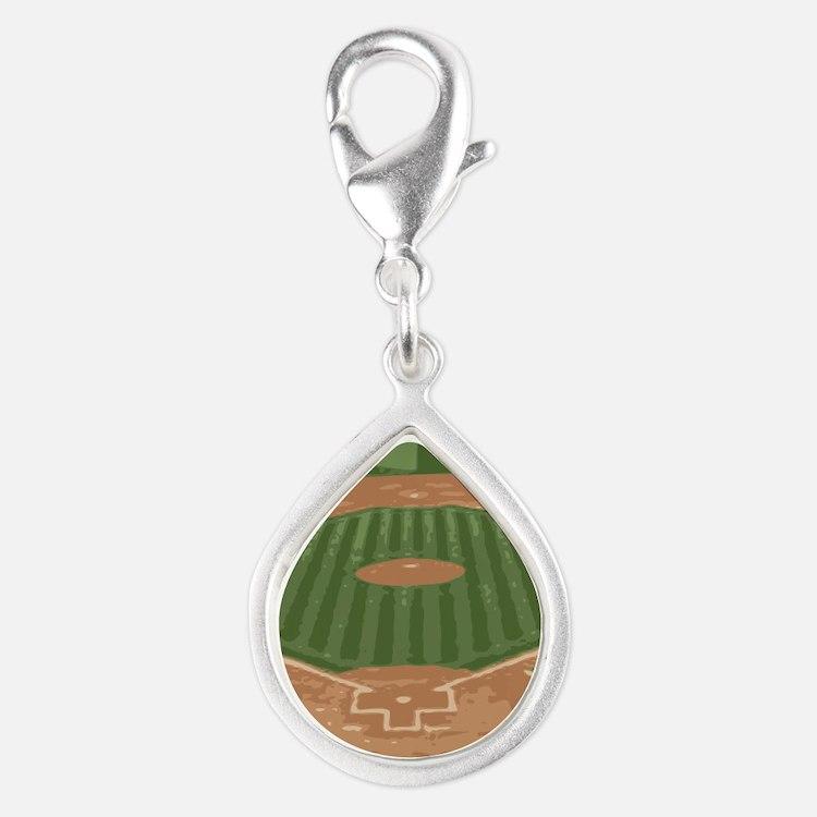 View From Home Plate Baseball Diamond Art Charms
