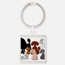 TINY POODLE PACK COLLAGE Keychains