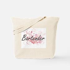 Bartender Artistic Job Design with Flower Tote Bag