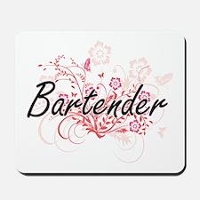 Bartender Artistic Job Design with Flowe Mousepad