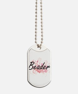 Beader Artistic Job Design with Flowers Dog Tags