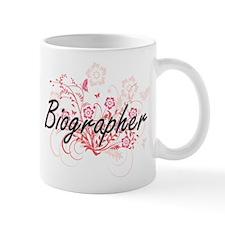 Biographer Artistic Job Design with Flowers Mugs