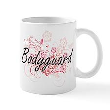 Bodyguard Artistic Job Design with Flowers Mugs