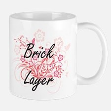 Brick Layer Artistic Job Design with Flowers Mugs