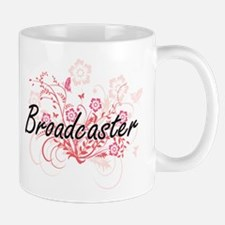 Broadcaster Artistic Job Design with Flowers Mugs