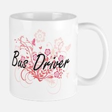 Bus Driver Artistic Job Design with Flowers Mugs