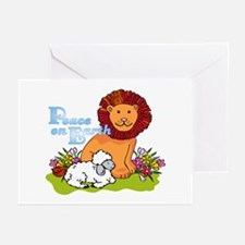 Lion & Lamb Peace On Ear Greeting Cards (pk Of