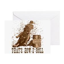Barrel racing horse. Roll. Greeting Card
