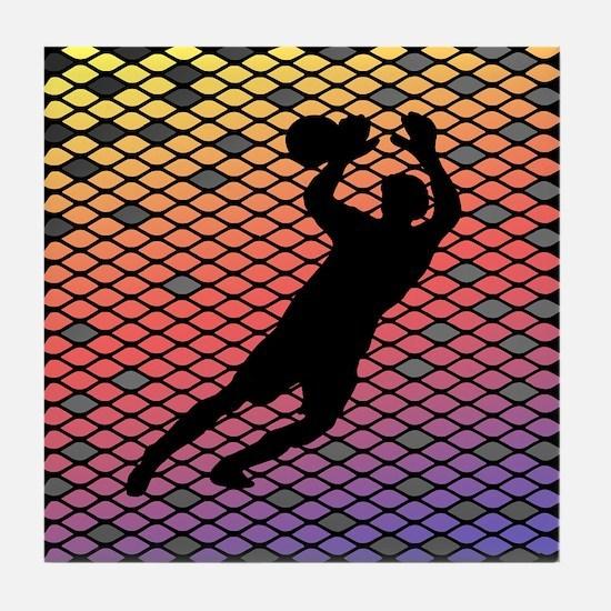 Soccer Goalie Keeper Art Sunset Tile Coaster