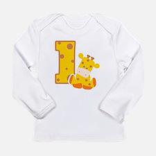1st Birthday Giraffe Long Sleeve Infant T-Shirt