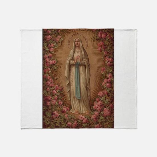 Our Lady Of Lourdes Throw Blanket