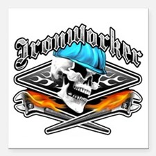 """Ironworker 1 Square Car Magnet 3"""" x 3"""""""