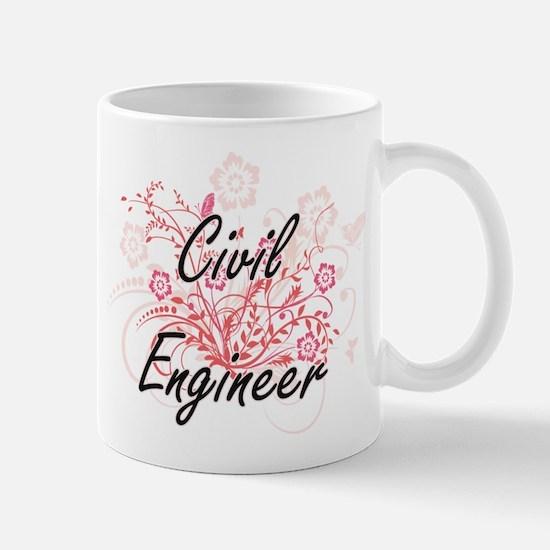 Civil Engineer Artistic Job Design with Flowe Mugs