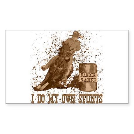 Horse barrel racing. Stunts. Sticker (Rectangular