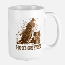 Horse barrel racing. Stunts. Mug