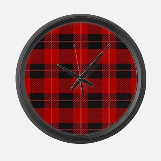 Red and black plaid geometric pa Large Wall Clock