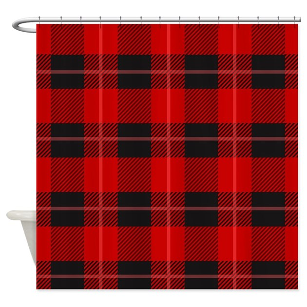 Red And Black Plaid Geometric Patt Shower Curtain By Admin Cp63016328