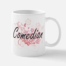 Comedian Artistic Job Design with Flowers Mugs